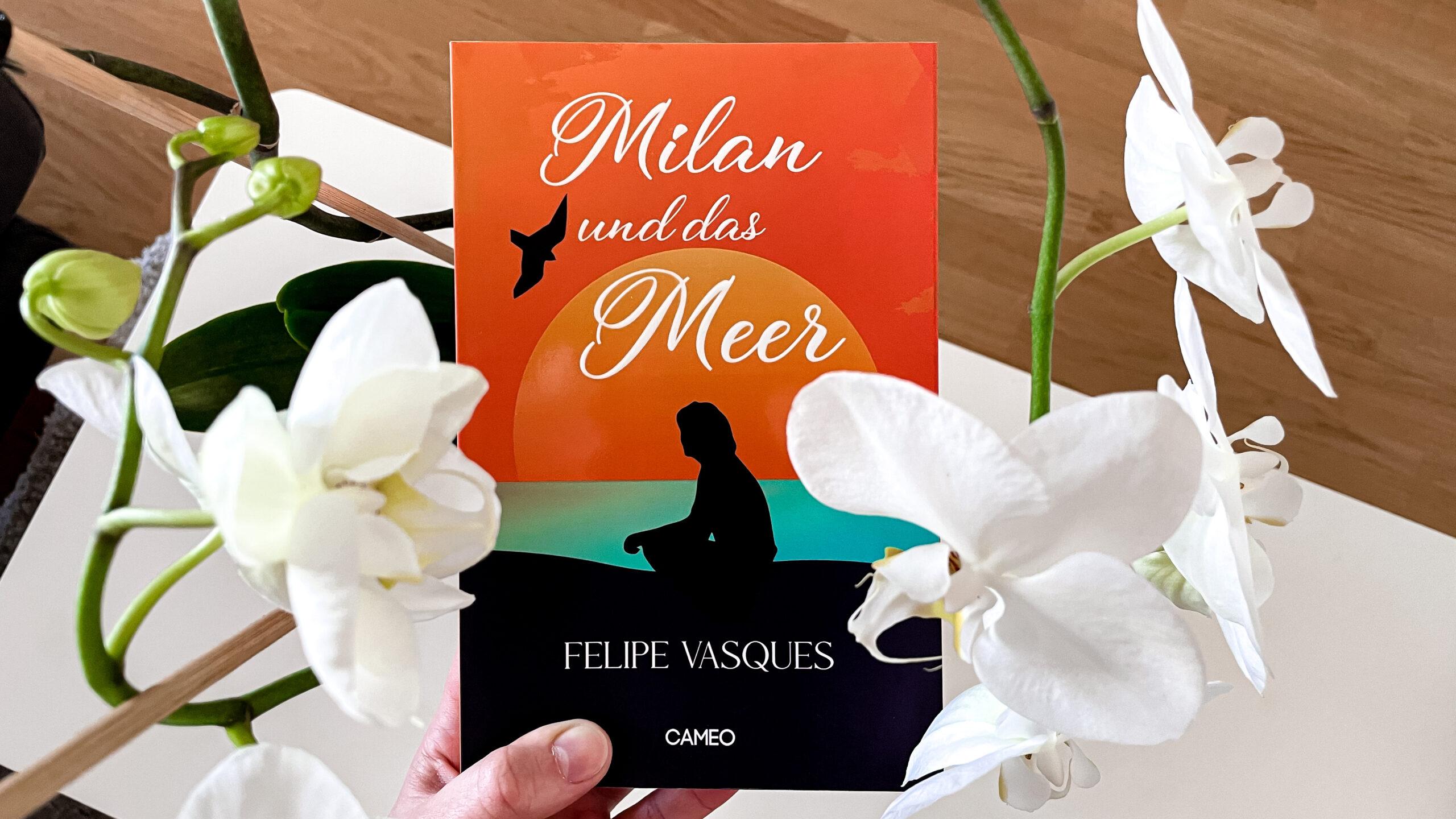 Bild Cover umgeben von weissen Orchideenblüten